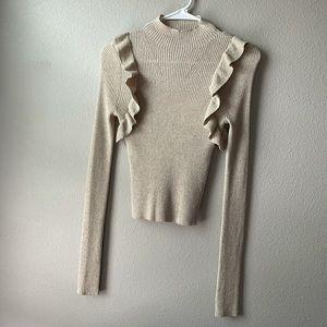 Majorelle metallic gold ruffle mock neck sweater